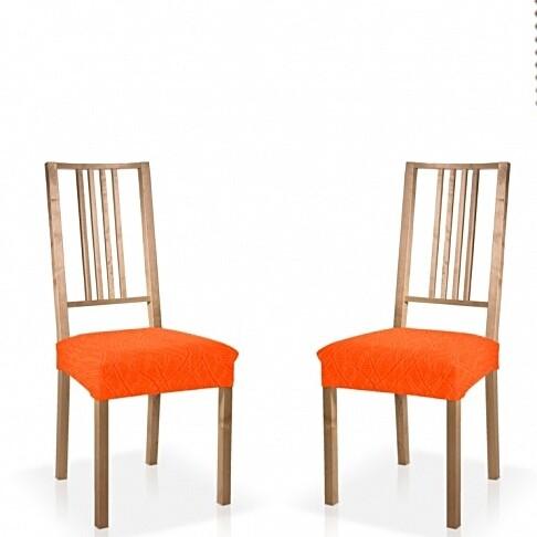 Σετ 2 τεμ. Κάλυμμα Κάθισμα Καρέκλας Ελαστικό Waves Πορτοκαλί - Mc Decor