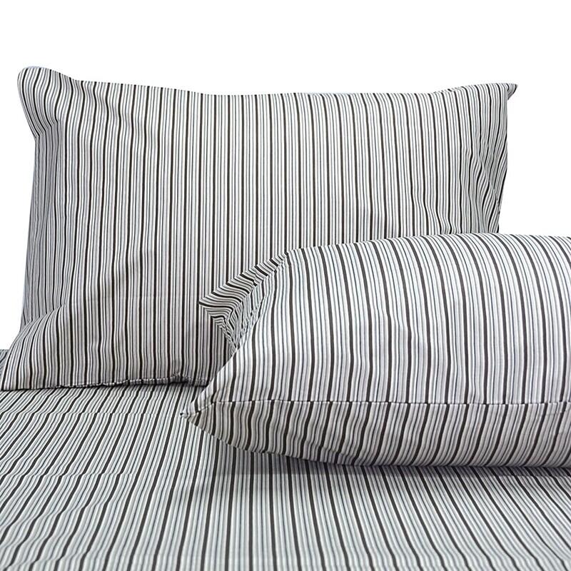 Μαξιλαροθήκες Ζευγάρι Stripes Brown Βαμβάκι 100% - Cotton Senses