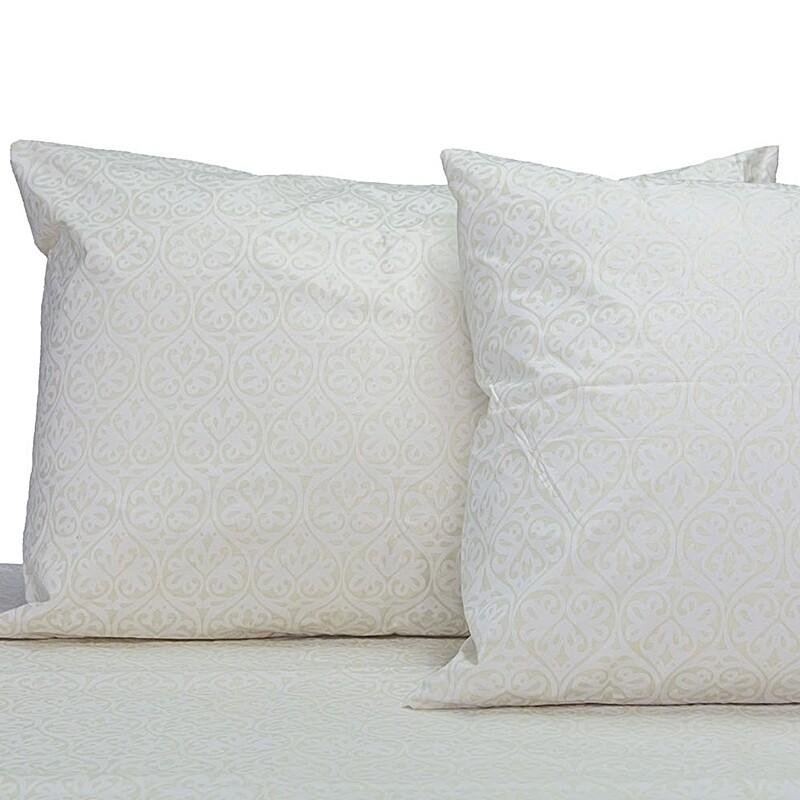 Μαξιλαροθήκες Ζευγάρι Damask Ecrou Βαμβάκι 100% - Cotton Senses