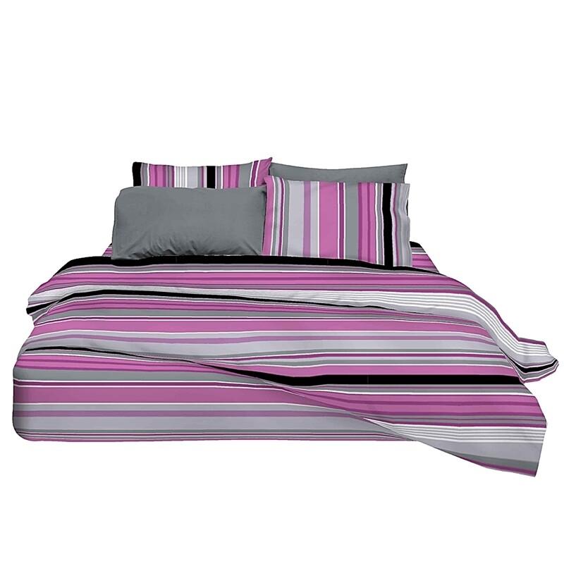 Μαξιλαροθήκες Ζευγάρι Stripes Mauve Βαμβάκι 100% - Cotton Senses