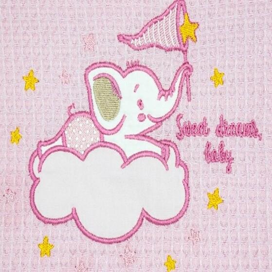 Κουβέρτα Πικέ Λίκνου Elephant Pink - Adam Home