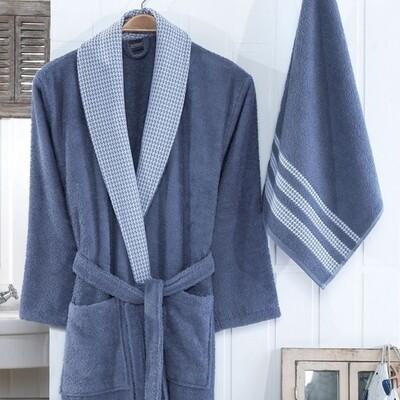 Σετ Μπουρνούζι & Πετσέτα Aria Blue - Ilis Home