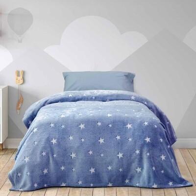 Κουβέρτα Φωσφοριζέ Μονή Fleece Glow Star Blue - Kocoon