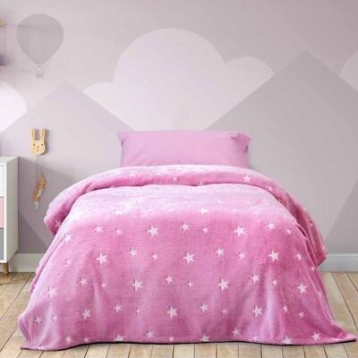 Κουβέρτα Φωσφοριζέ Μονή Fleece Glow Star Pink - Kocoon