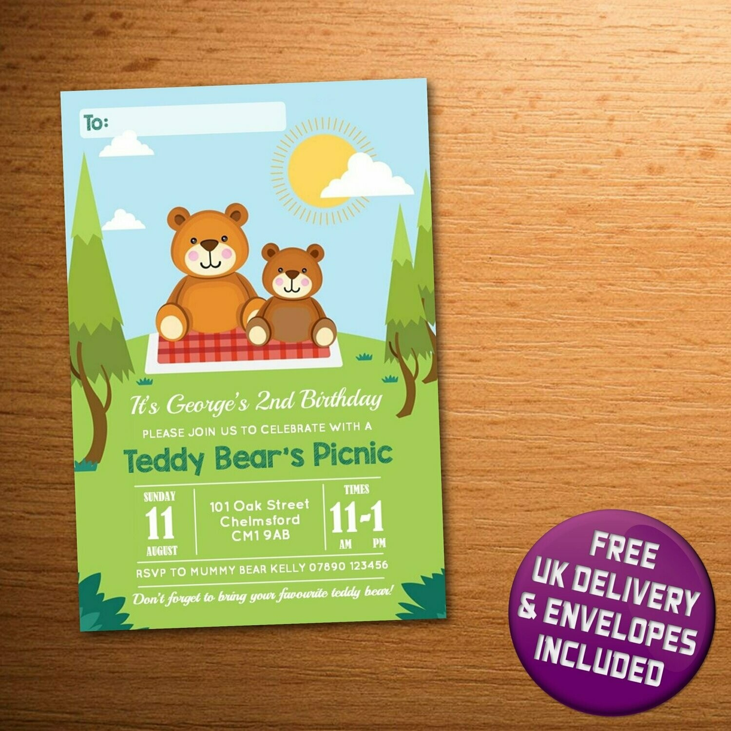 10 x personalised teddy bear s picnic birthday party invitations a6 printed cards or digital file