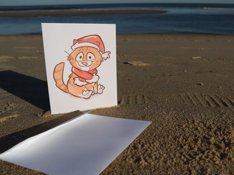 SALE: Premium Linen Santa Pip Blank Greeting Cards with Envelope