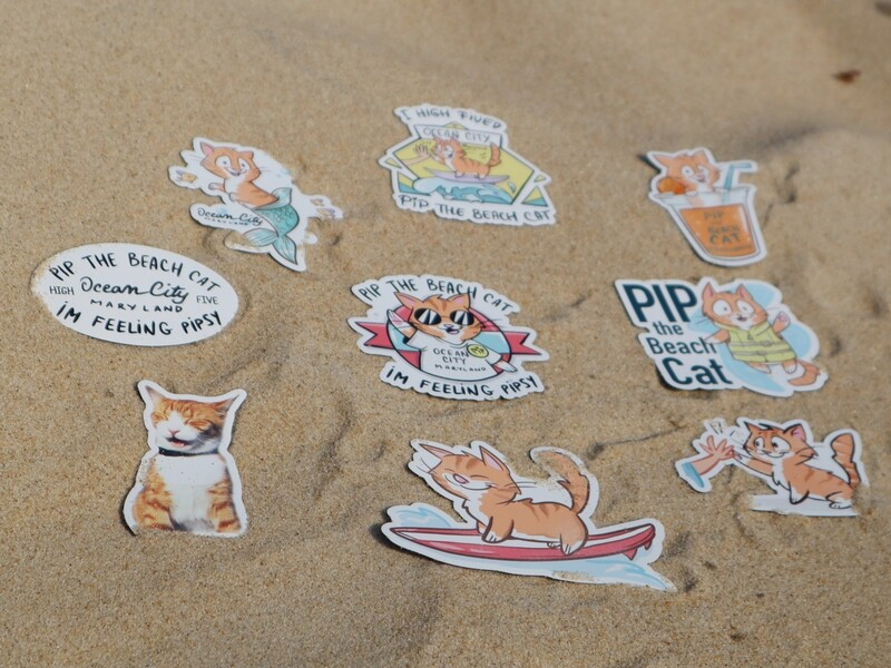 Pip the Beach Cat Flat Magnets