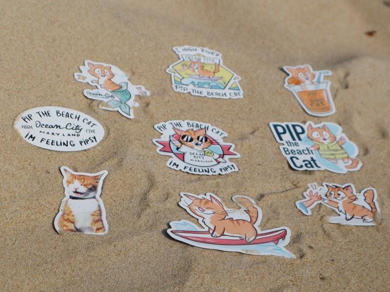 SALE Pip the Beach Cat Flat Magnets