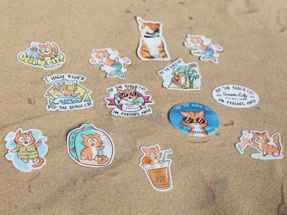 Pip the Beach Cat  Premium Vinyl Stickers