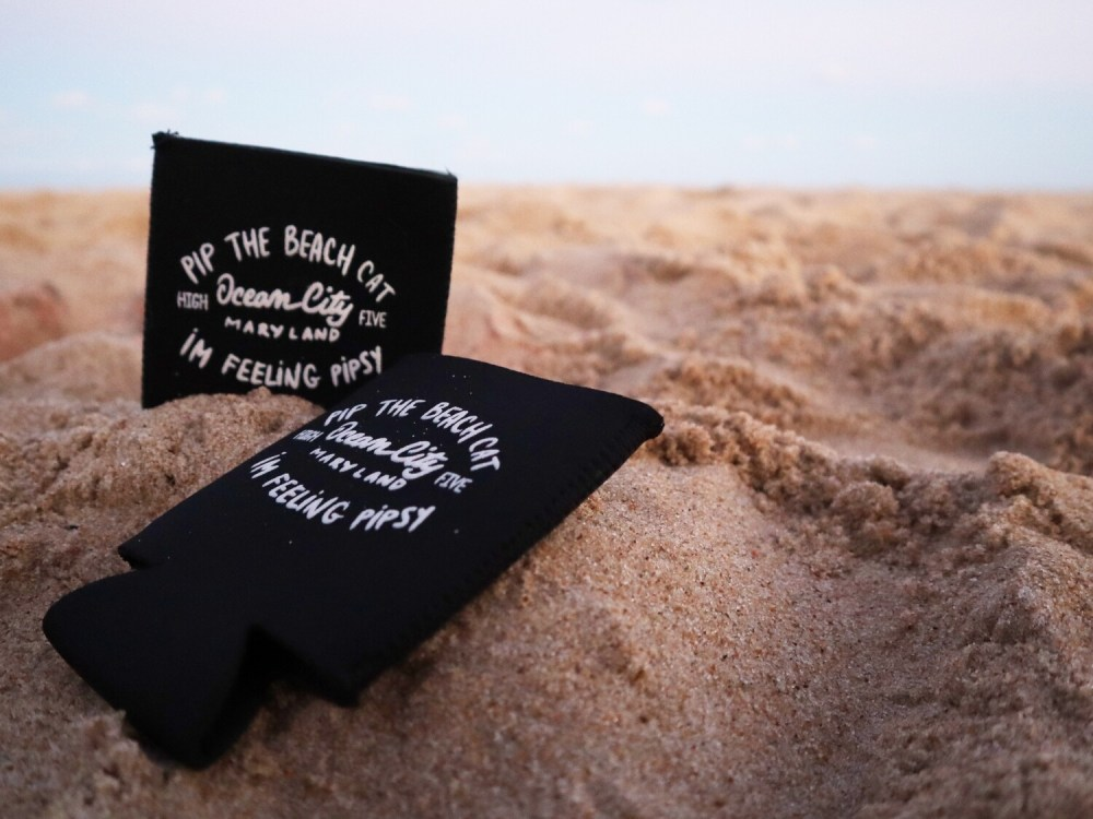 Pip the Beach Cat Text Logo Black Coozie
