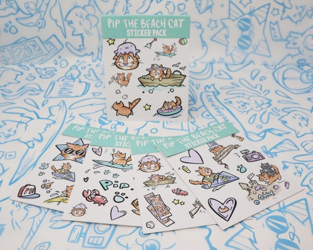 Pip the Beach Cat Paper Sticker Packs