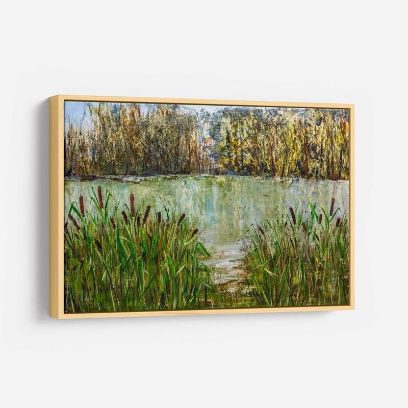 Cattails on Weir Farm Pond - Original Oil