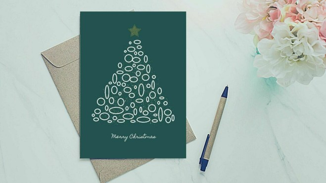 Holiday Greeting Card - Circle Tree