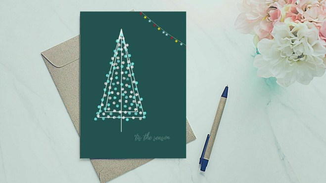 Holiday Greeting Card - White and Blue Tree