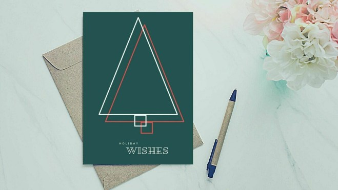 Holiday Greeting Card - Double Outline Tree