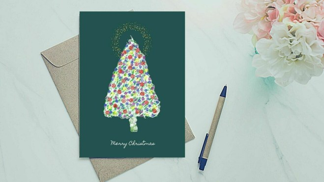 Holiday Greeting Card - Colorful Tree