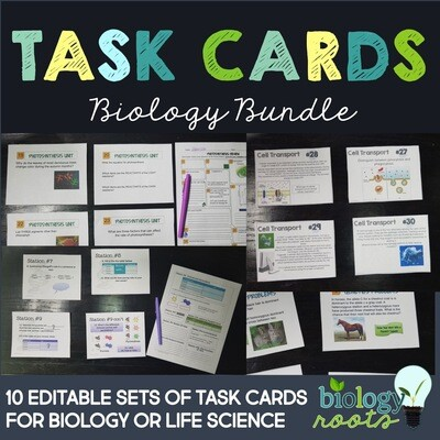 Biology Task Card Bundle- supports digital