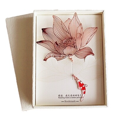Lotus Flower With Koi Fish Bookmark