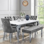 Laveda 160cm White Grey Marble Dining Table Canterbury Chairs Bench