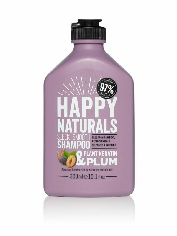 Happy Naturals Sleek + Smooth Shampoo Plant Keratin & Plum 300ml