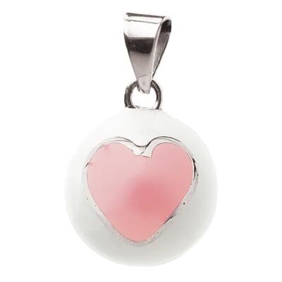 Bola Μενταγιόν εγκυμοσύνης - Λευκό με ρόζ καρδιά