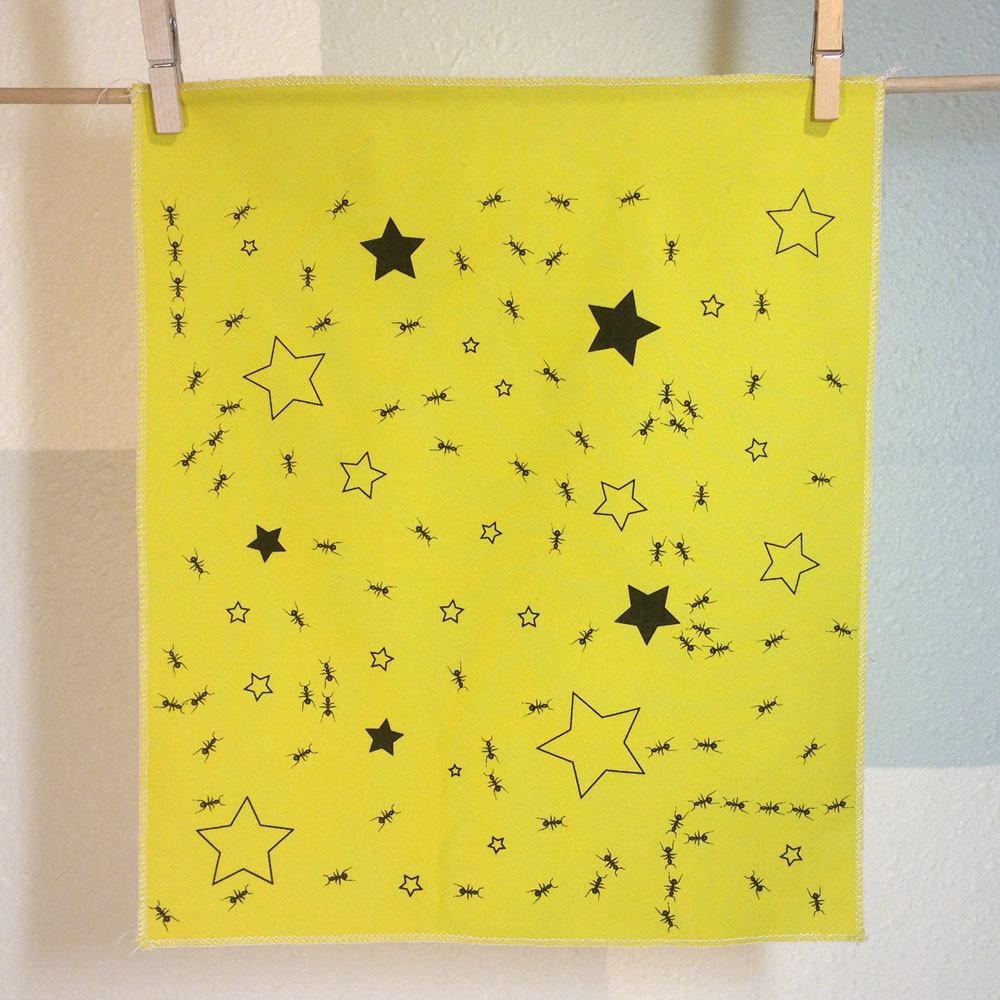 Ants In Stars - Hand Printed Fabric Panel
