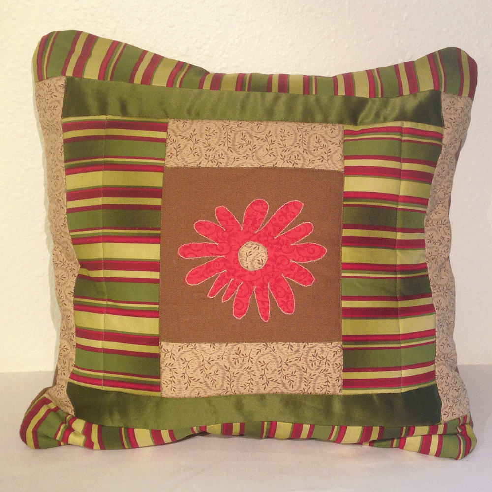 Flower Appliqué Quilted Pillow Cover