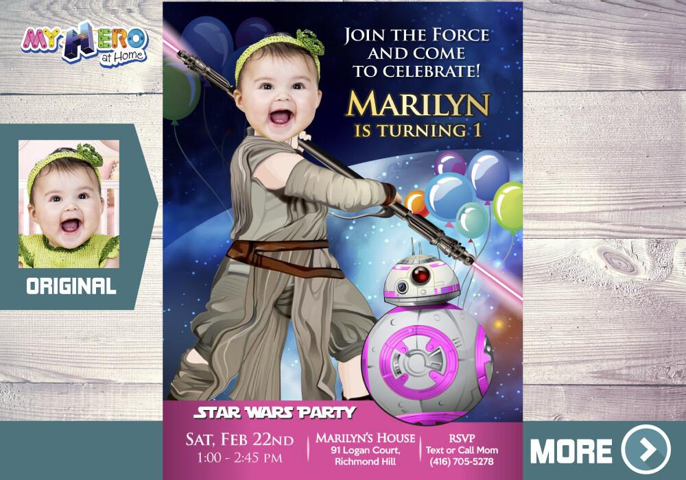 jedi rey 1st birthday invitation star wars baby girl 1st invitation turn your baby girl into jedi rey first birthday jedi rey 413