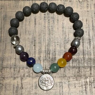 Chakra Balancing Bracelet: Silver Lotus