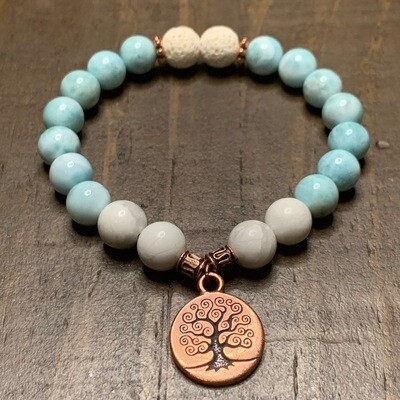 Larimar & Howlite Bracelet-Copper Tree of Life