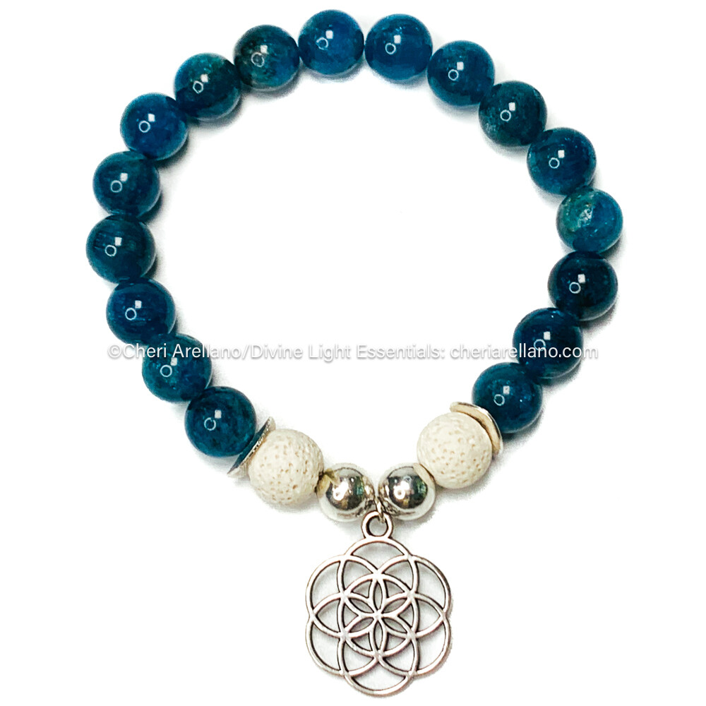 Apatite Bracelet: Silver Flower of Life