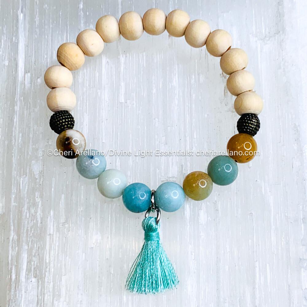 Amazonite & Wooden Beads, Blue Tassel Bracelet-8mm