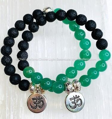 Green Aventurine & Lava Bracelet: Silver Om