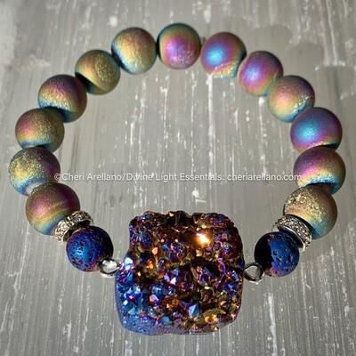 Rainbow Druzy Beads & Indigo Druzy Pendant Bracelet