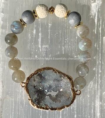 Labradorite and Crystal Druzy Bracelet
