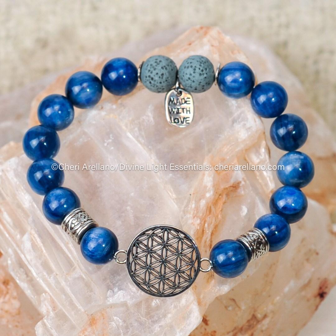 Kyanite Flower of Life Bracelet