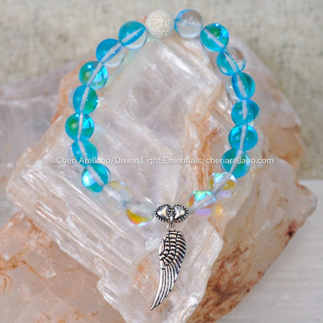 Aqua Aura & Angel Aura Quartz Crystal Healing Bracelet