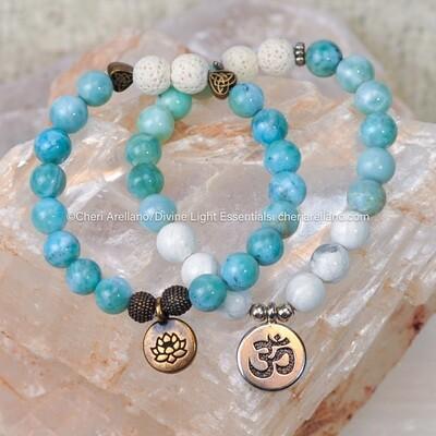 Larimar Om or Lotus Flower Bracelets