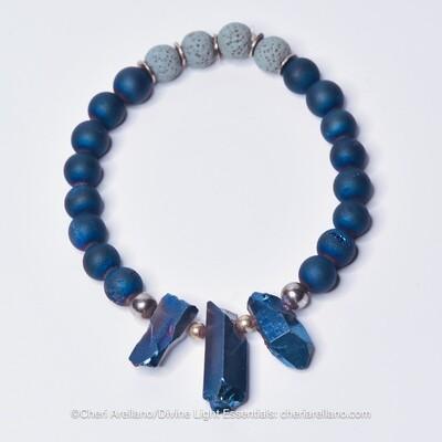 Indigo Druzy & Drop Crystals Bracelet