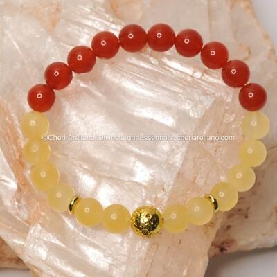Carnelian & Calcite Crystal Healing Bracelet