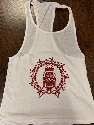 Red Glitter Nutcracker in Wreath Tank Top