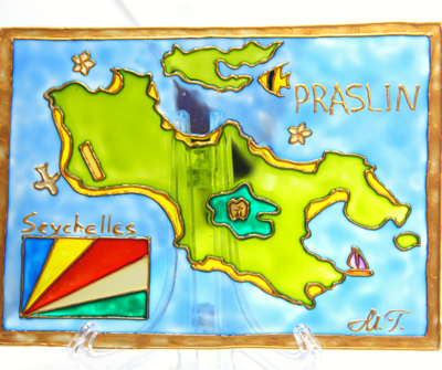 Glass Staned Painted Map