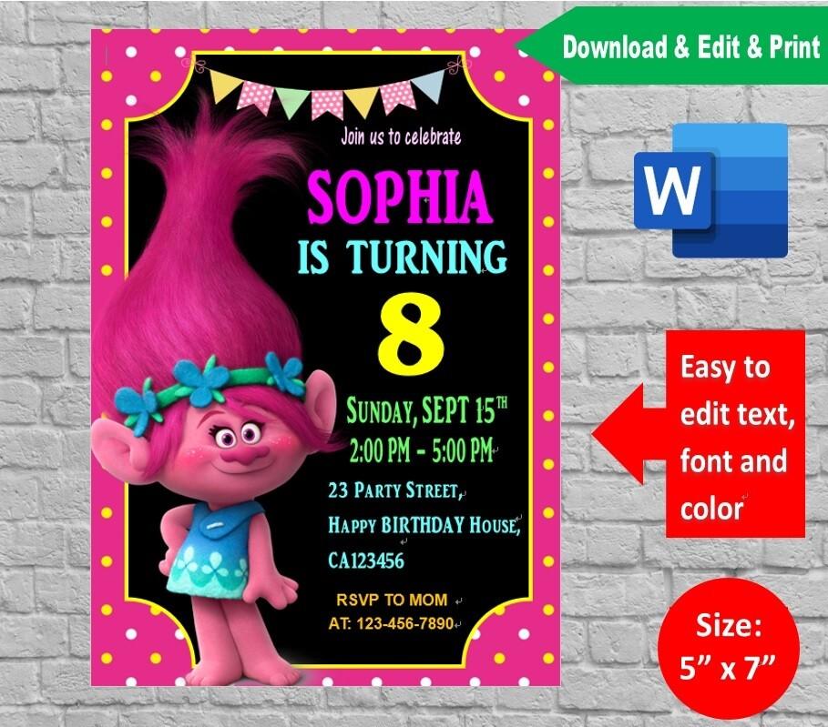 Trolls Poppy Invitation Template Printable And Editable