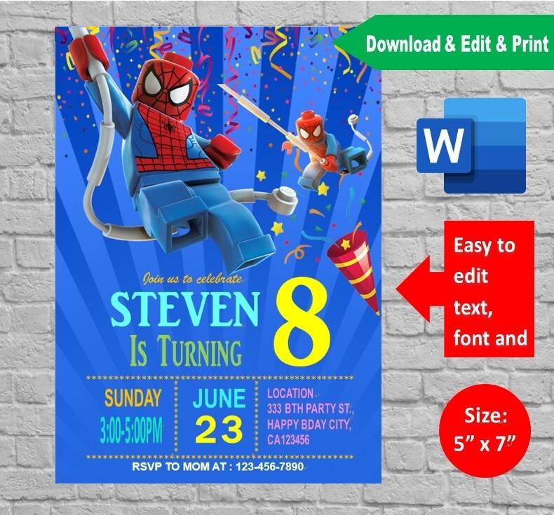 spiderman lego birthday party invitation printable