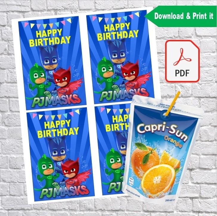 pj masks birthday party capri sun labels printable