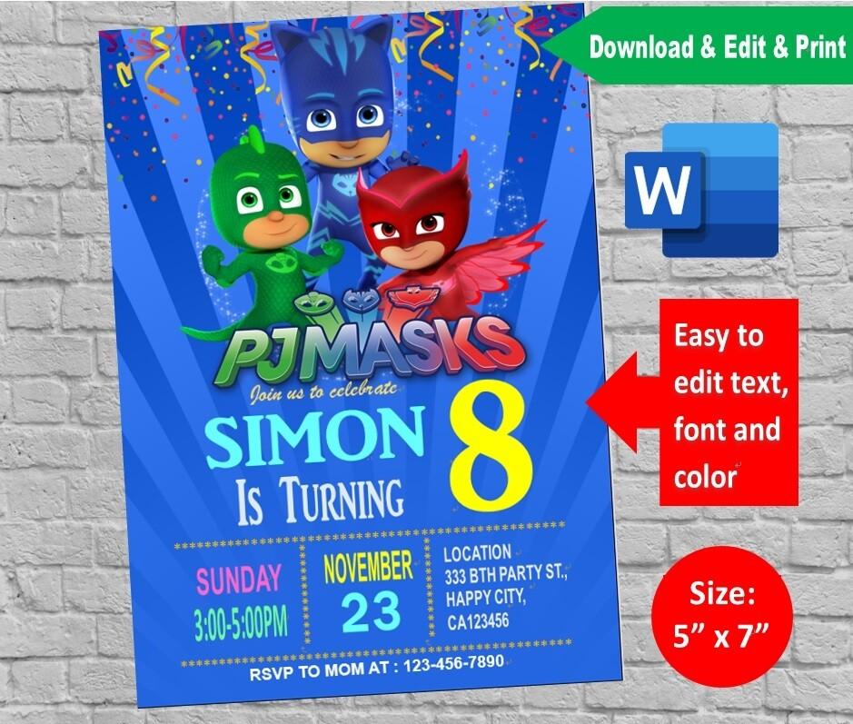 pj masks birthday party invitation printable