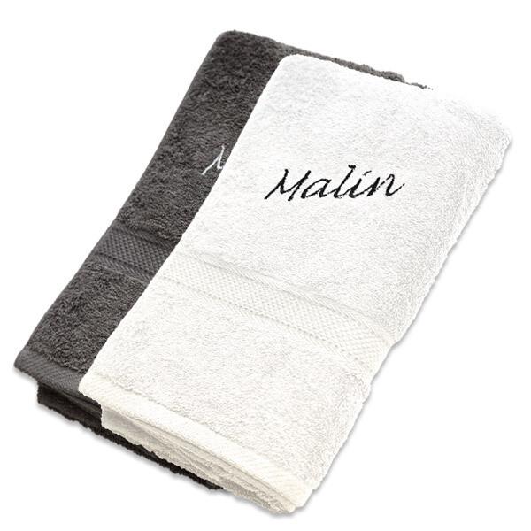 Håndkle med brodert navn premium 50x70 cm