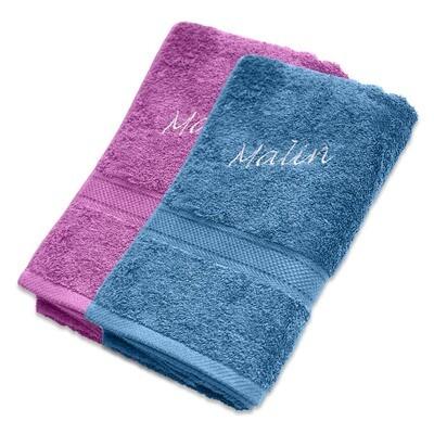 Håndkle med brodert navn premium 65x135 cm