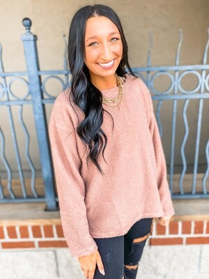 Rose Mocha Fuzzy Sweater