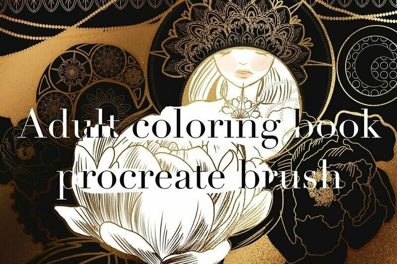 Adult coloring book procreate brush